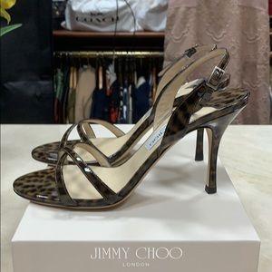 Jimmy Choo INDIA Leopard Print Patent Leather 39